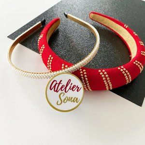 Red Holiday & Faux Pearl Headbands - Set of 2